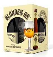 Afbeeldingen van Blonden Os 4 x 33 cl + 1 Glas 6.5° 1.32L