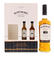 """Image de Bowmore 12 Years """"The Legendary N°1 Vaults"""" + Bowmore 15 Years 5 cl + Bowmore N°1 5 cl 40.19° 0.8L"""